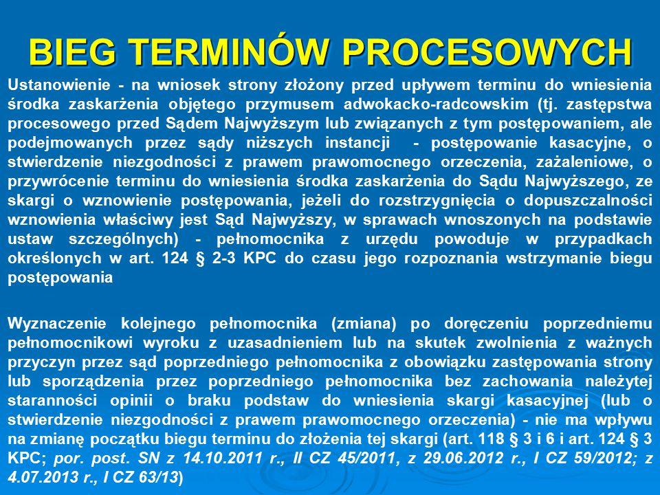 BIEG TERMINÓW PROCESOWYCH Ustanowienie - na wniosek strony złożony przed upływem terminu do wniesienia środka zaskarżenia objętego przymusem adwokacko
