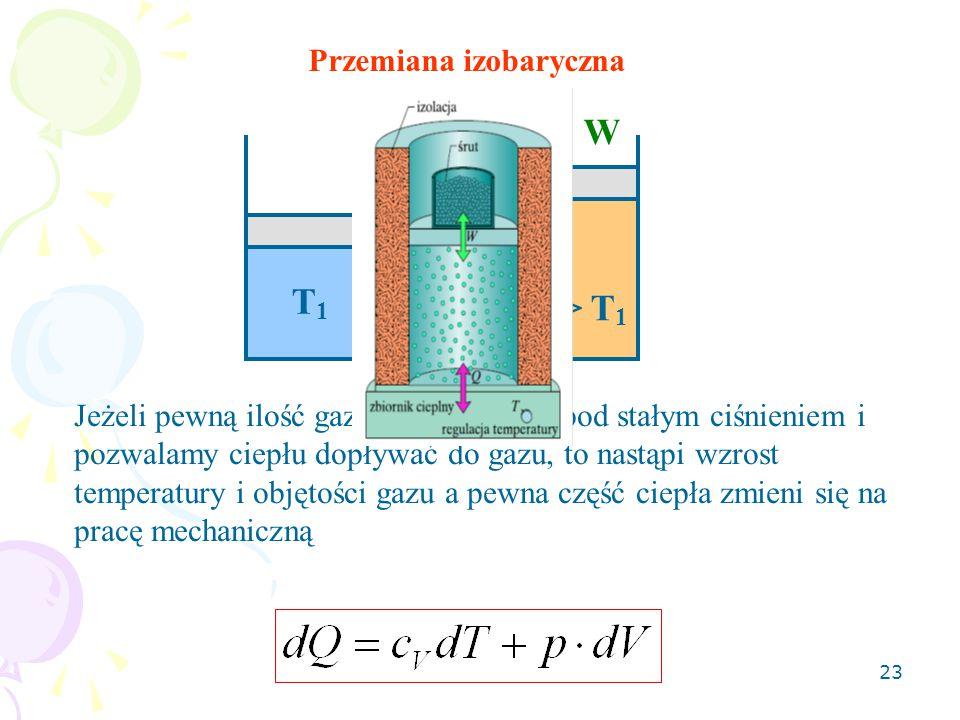 23 Przemiana izobaryczna Q W T 2 > T 1 T1T1 Jeżeli pewną ilość gazu utrzymujemy pod stałym ciśnieniem i pozwalamy ciepłu dopływać do gazu, to nastąpi