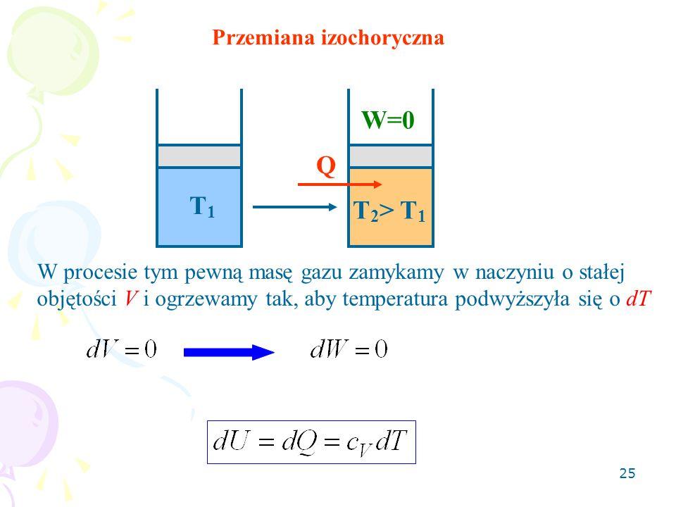 25 Q W=0 T 2 > T 1 T1T1 Przemiana izochoryczna W procesie tym pewną masę gazu zamykamy w naczyniu o stałej objętości V i ogrzewamy tak, aby temperatur
