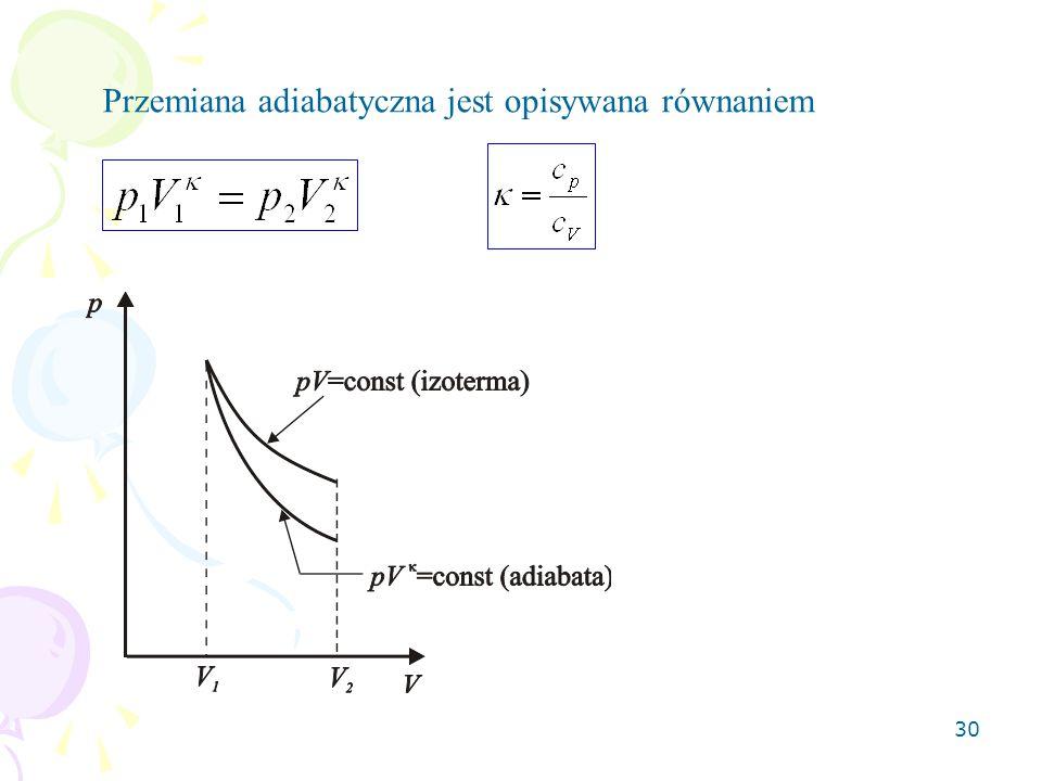 30 Przemiana adiabatyczna jest opisywana równaniem