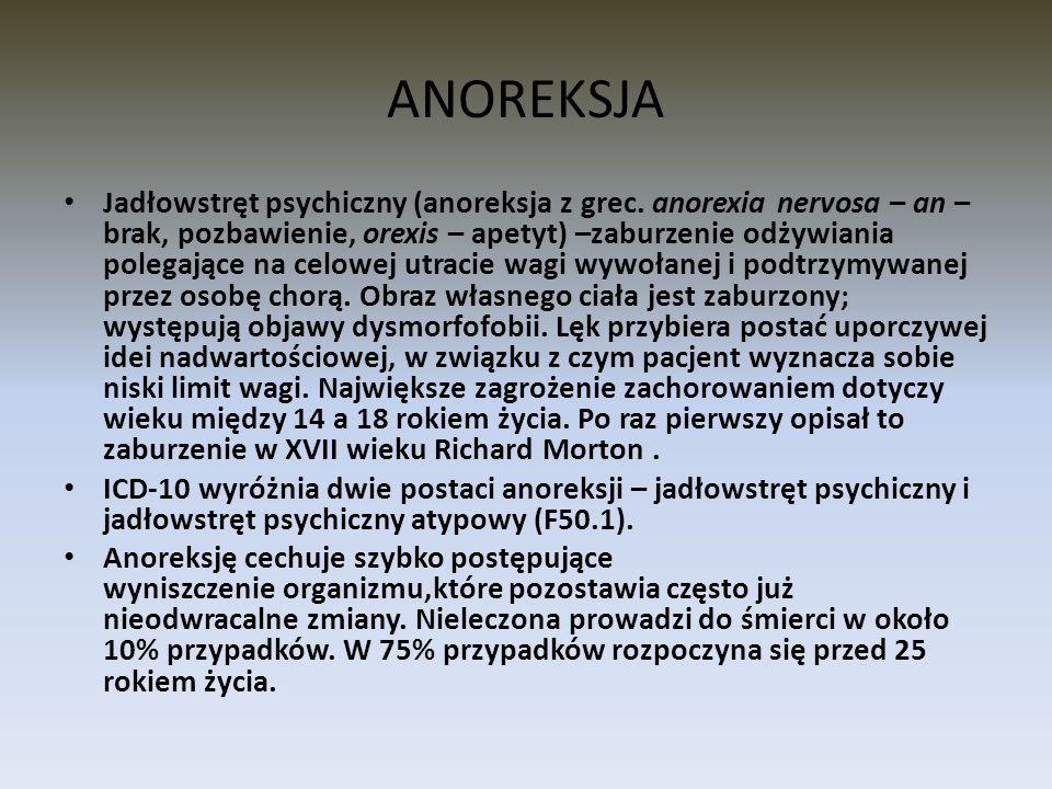 ANOREKSJA Jadłowstręt psychiczny (anoreksja z grec. anorexia nervosa – an – brak, pozbawienie, orexis – apetyt) –zaburzenie odżywiania polegające na c