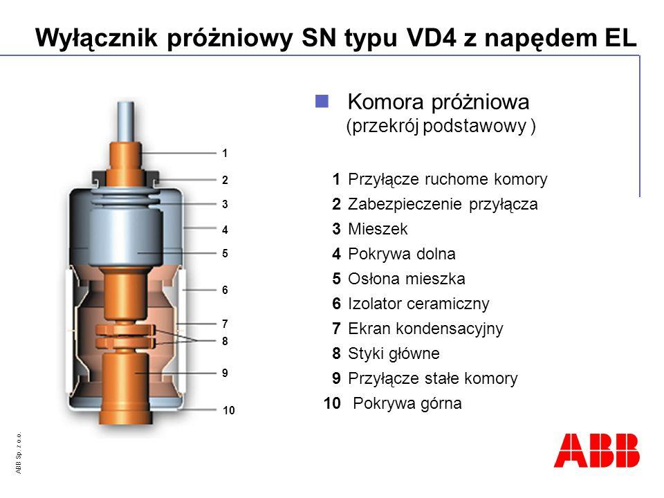ABB Sp. z o.o. Wyłącznik próżniowy SN typu VD4 z napędem EL 1Przyłącze ruchome komory 2Zabezpieczenie przyłącza 3Mieszek 4Pokrywa dolna 5Osłona mieszk