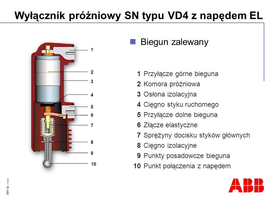 ABB Sp. z o.o. Wyłącznik próżniowy SN typu VD4 z napędem EL 1 Przyłącze górne bieguna 2 Komora próżniowa 3 Osłona izolacyjna 4 Cięgno styku ruchomego
