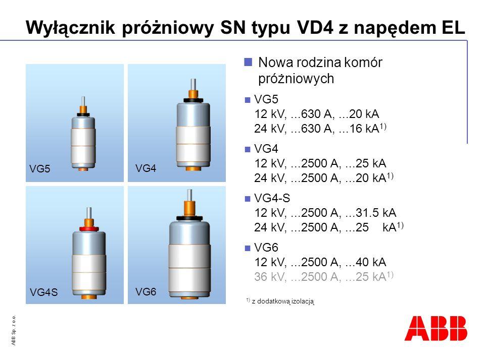 ABB Sp. z o.o. Wyłącznik próżniowy SN typu VD4 z napędem EL Nowa rodzina komór próżniowych VG4 12 kV,...2500 A,...25 kA 24 kV,...2500 A,...20 kA 1) VG
