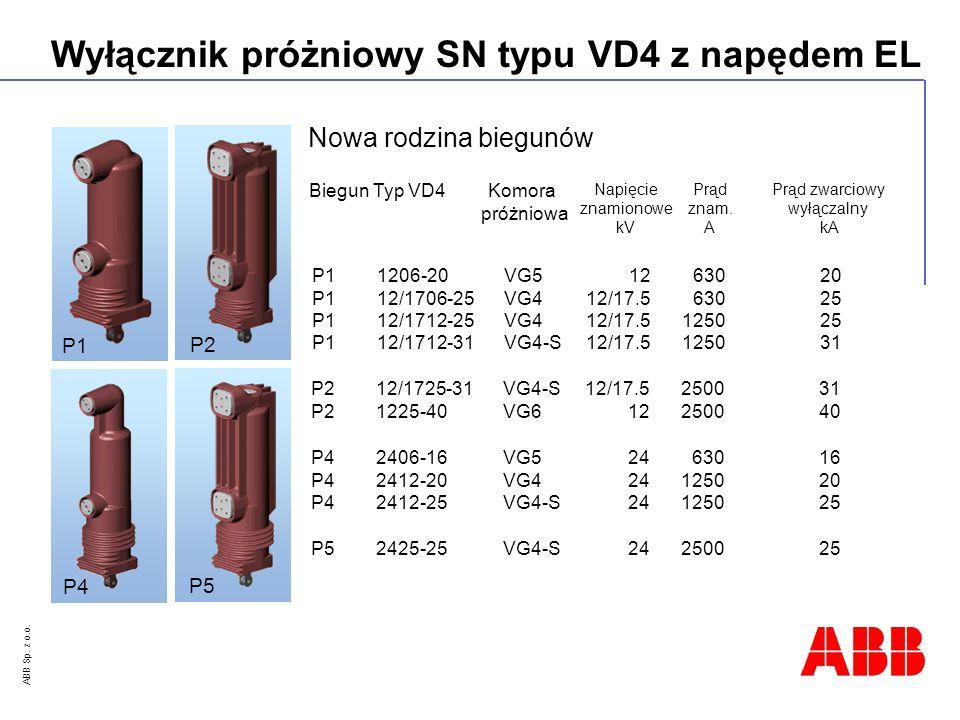 ABB Sp. z o.o. Wyłącznik próżniowy SN typu VD4 z napędem EL Nowa rodzina biegunów BiegunTyp VD4 Napięcie znamionowe kV Prąd znam. A Prąd zwarciowy wył