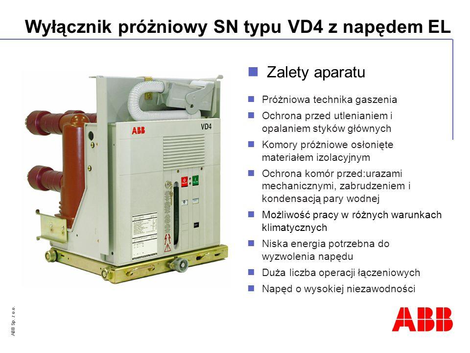 ABB Sp. z o.o. Wyłącznik próżniowy SN typu VD4 z napędem EL Próżniowa technika gaszenia Ochrona przed utlenianiem i opalaniem styków głównych Komory p