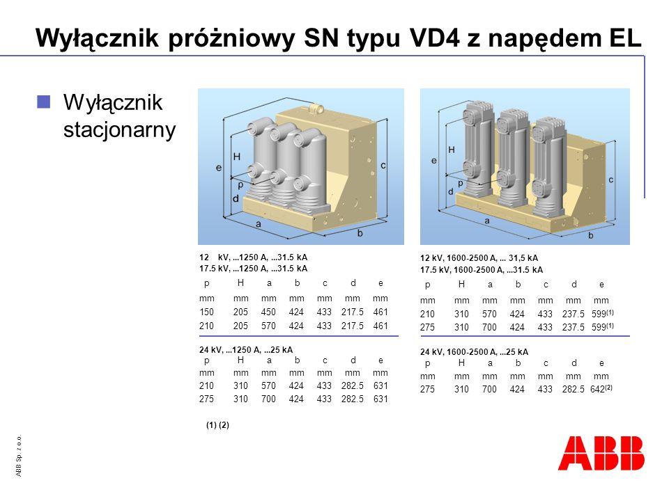 ABB Sp. z o.o. Wyłącznik próżniowy SN typu VD4 z napędem EL 12 kV,...1250 A,...31.5 kA 17.5 kV,...1250 A,...31.5 kA pHabcde mmmmmmmmmmmmmm 15020545042