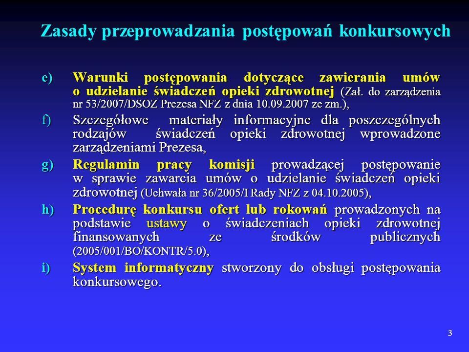 3 e)Warunki postępowania dotyczące zawierania umów o udzielanie świadczeń opieki zdrowotnej (Zał.
