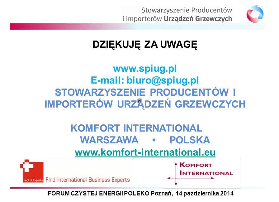 FORUM CZYSTEJ ENERGII POLEKO Poznań, 14 października 2014 DZIĘKUJĘ ZA UWAGĘ www.spiug.pl E-mail: biuro@spiug.pl STOWARZYSZENIE PRODUCENTÓW I IMPORTERÓ