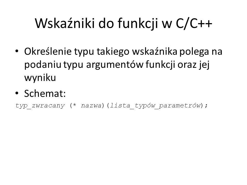 Wskaźniki do funkcji w C/C++ Określenie typu takiego wskaźnika polega na podaniu typu argumentów funkcji oraz jej wyniku Schemat: typ_zwracany (* nazw