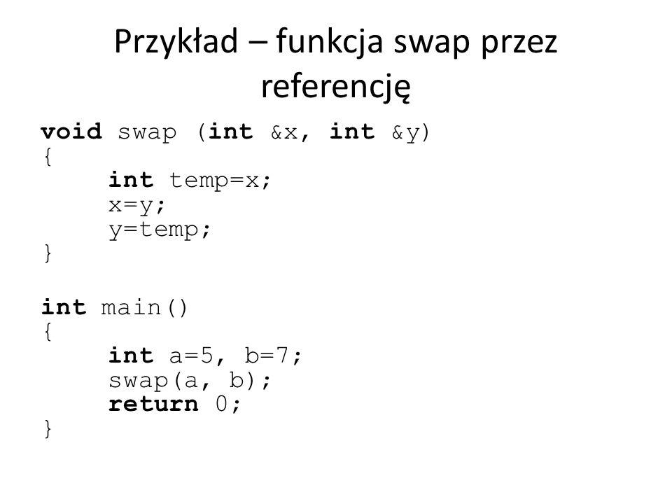 Przykład – funkcja swap przez referencję void swap (int &x, int &y) { int temp=x; x=y; y=temp; } int main() { int a=5, b=7; swap(a, b); return 0; }