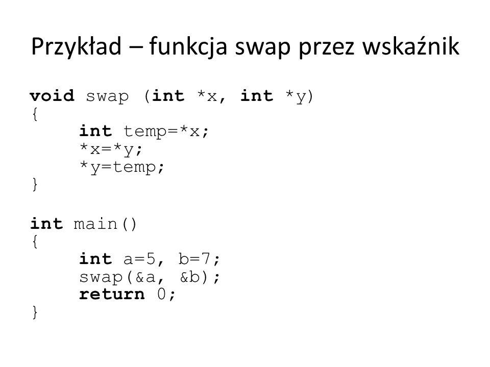 Przykład – funkcja swap przez wskaźnik void swap (int *x, int *y) { int temp=*x; *x=*y; *y=temp; } int main() { int a=5, b=7; swap(&a, &b); return 0;