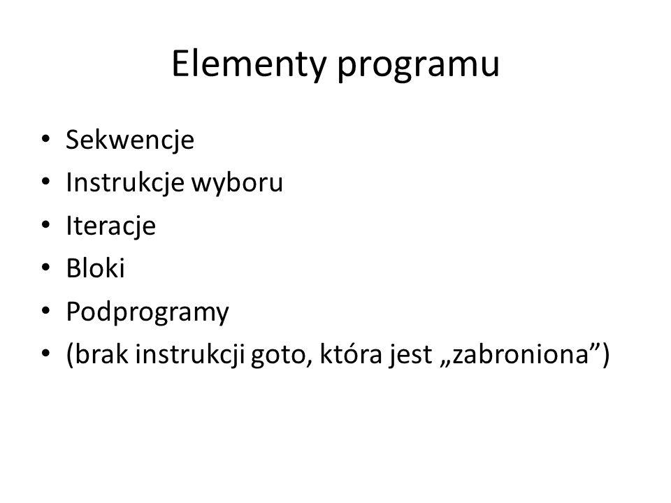 """Elementy programu Sekwencje Instrukcje wyboru Iteracje Bloki Podprogramy (brak instrukcji goto, która jest """"zabroniona"""")"""