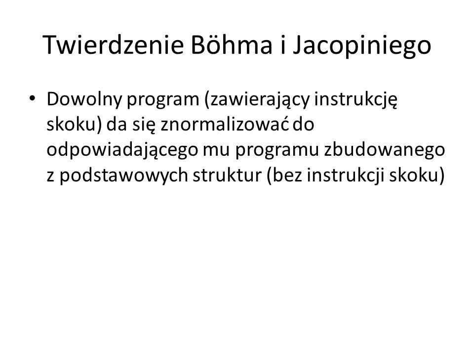 Twierdzenie Böhma i Jacopiniego Dowolny program (zawierający instrukcję skoku) da się znormalizować do odpowiadającego mu programu zbudowanego z podst