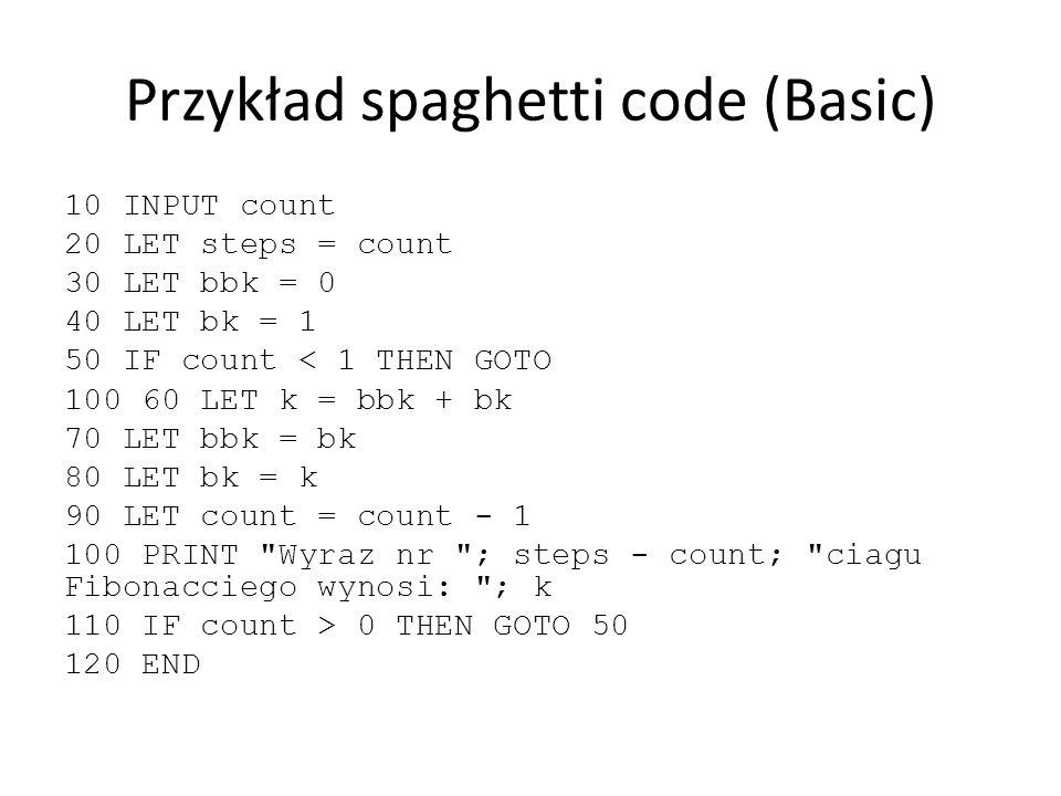 Przykład spaghetti code (Basic) 10 INPUT count 20 LET steps = count 30 LET bbk = 0 40 LET bk = 1 50 IF count < 1 THEN GOTO 100 60 LET k = bbk + bk 70