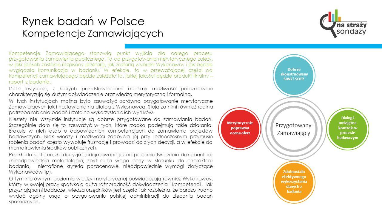 Rynek badań w Polsce Kompetencje Zamawiających Kompetencje Zamawiającego stanowią punkt wyjścia dla całego procesu przygotowania Zamówienia publicznego.