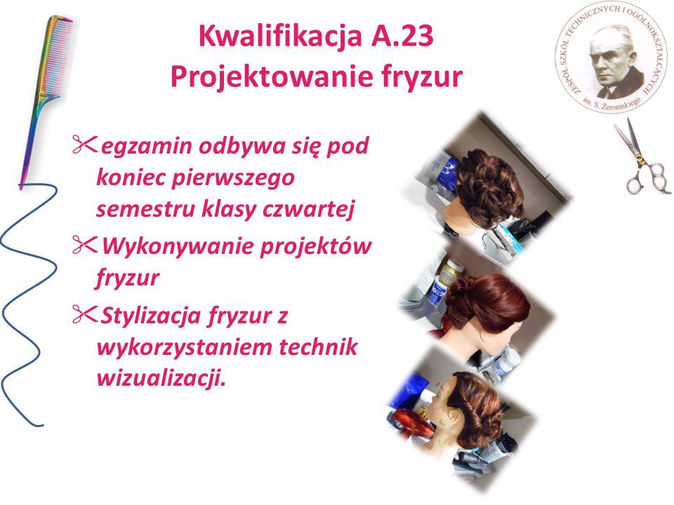 Kwalifikacja A.23 Projektowanie fryzur  egzamin odbywa się pod koniec pierwszego semestru klasy czwartej  Wykonywanie projektów fryzur  Stylizacja