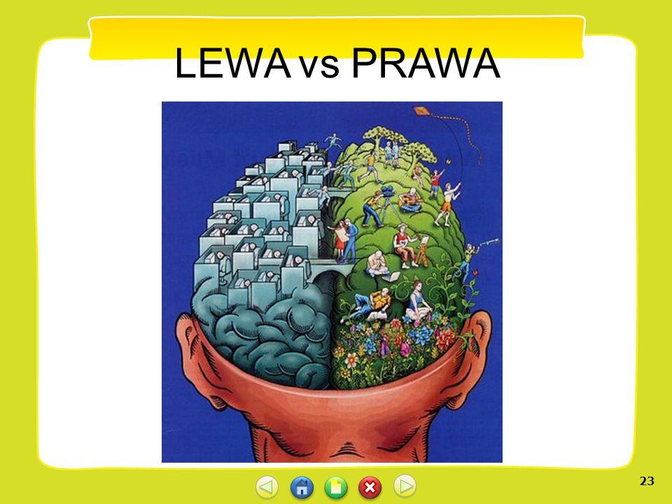 22 Dominacja półkuli mózgowej Ludzie z dominującą półkulą lewą lubią litery i liczby, cechuje ich logika sekwencyjna, przywiązanie do norm, wzorów, pu