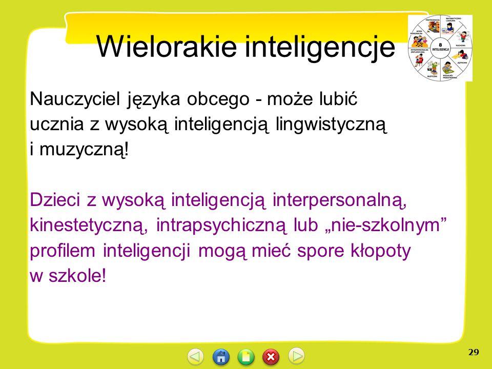 28 Wielorakie inteligencje Lubimy ludzi podobnych do nas samych! Nauczyciel języka polskiego - może lubić ucznia z wysoką inteligencją lingwistyczną!