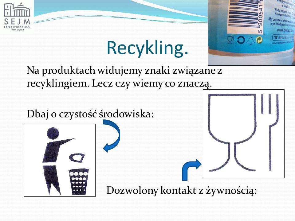 Recykling. Na produktach widujemy znaki związane z recyklingiem. Lecz czy wiemy co znaczą. Dbaj o czystość środowiska: Dozwolony kontakt z żywnością: