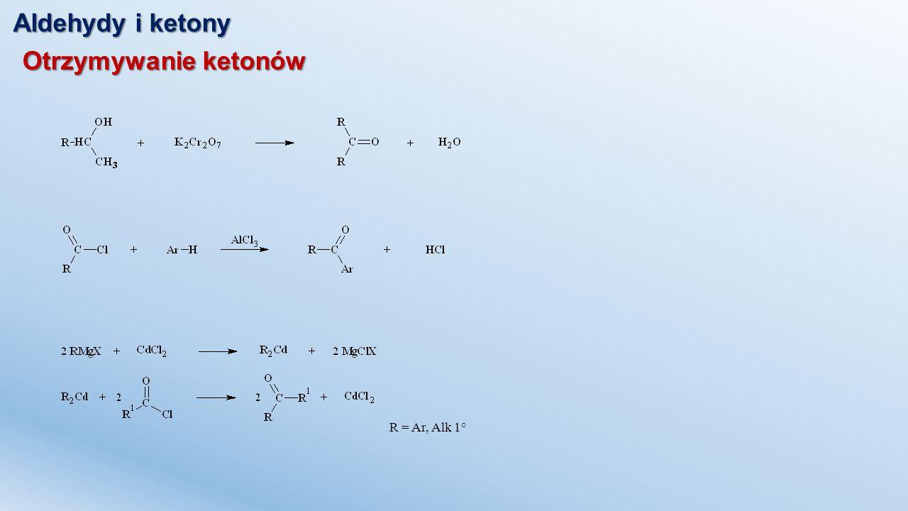 Aldehydy i ketony Addycja nukleofilowa – addycja cyjanowodoru Cyjanohydryna Kwas migdałowy