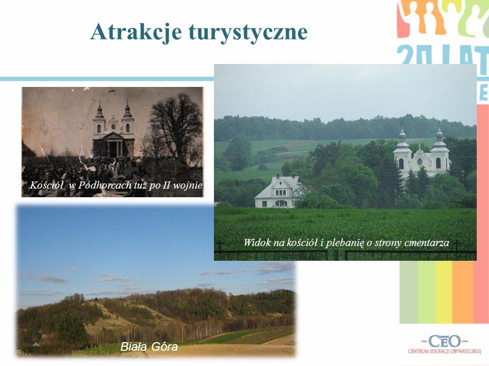 Atrakcje turystyczne Kościół w Podhorcach tuż po II wojnie Widok na kościół i plebanię o strony cmentarza Biała Góra