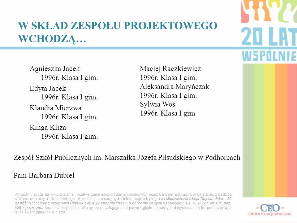 Agnieszka Jacek 1996r.Klasa I gim. Edyta Jacek 1996r.