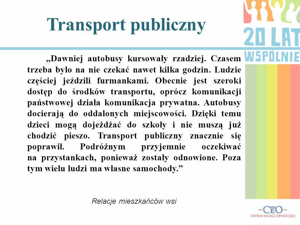 """Transport publiczny """"Dawniej autobusy kursowały rzadziej."""
