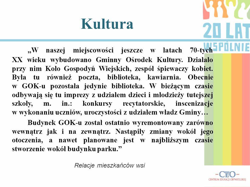 """Kultura """"W naszej miejscowości jeszcze w latach 70-tych XX wieku wybudowano Gminny Ośrodek Kultury."""
