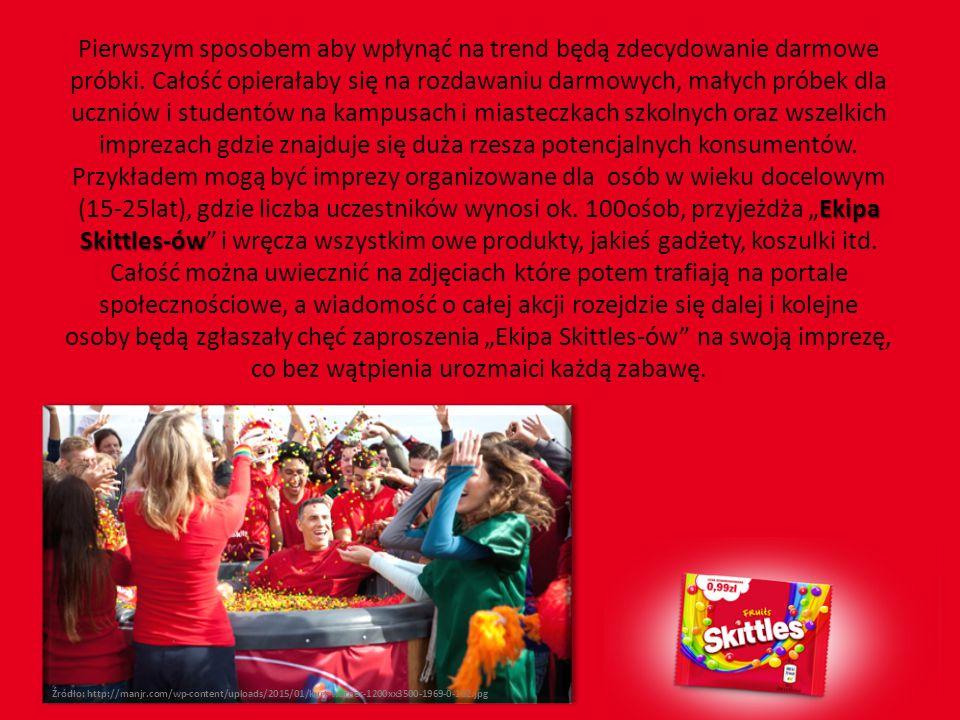Ekipa Skittles-ów Pierwszym sposobem aby wpłynąć na trend będą zdecydowanie darmowe próbki. Całość opierałaby się na rozdawaniu darmowych, małych prób