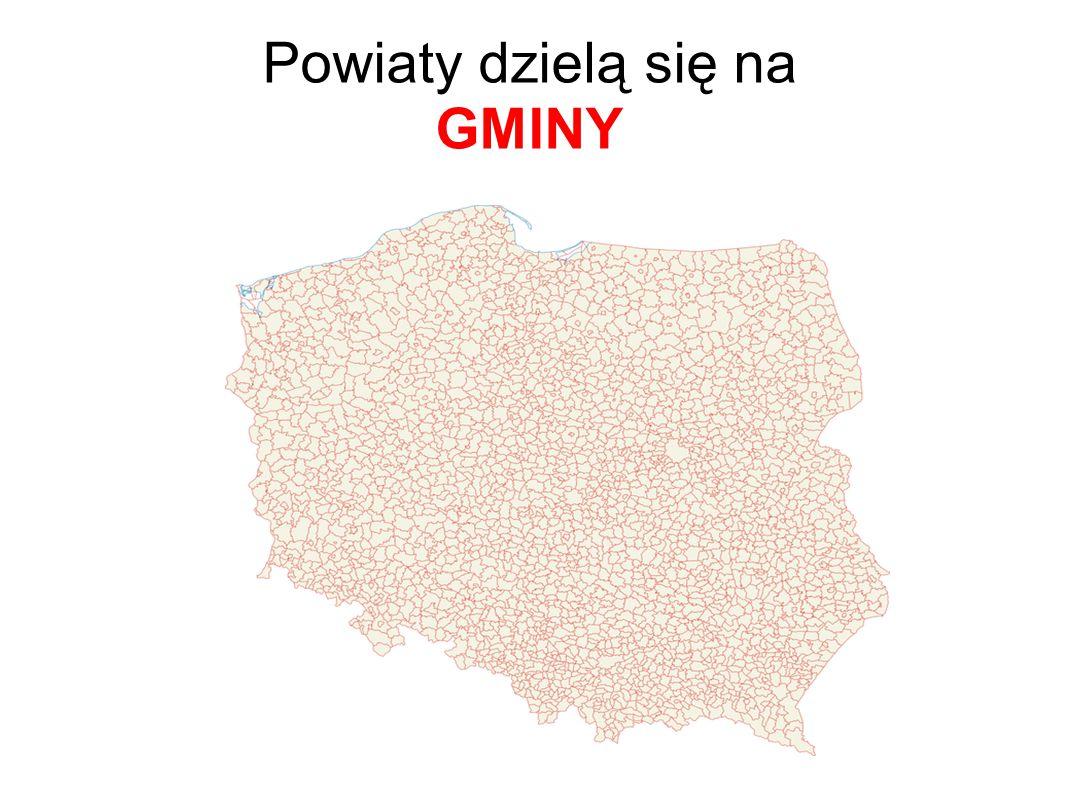 Powiaty dzielą się na GMINY