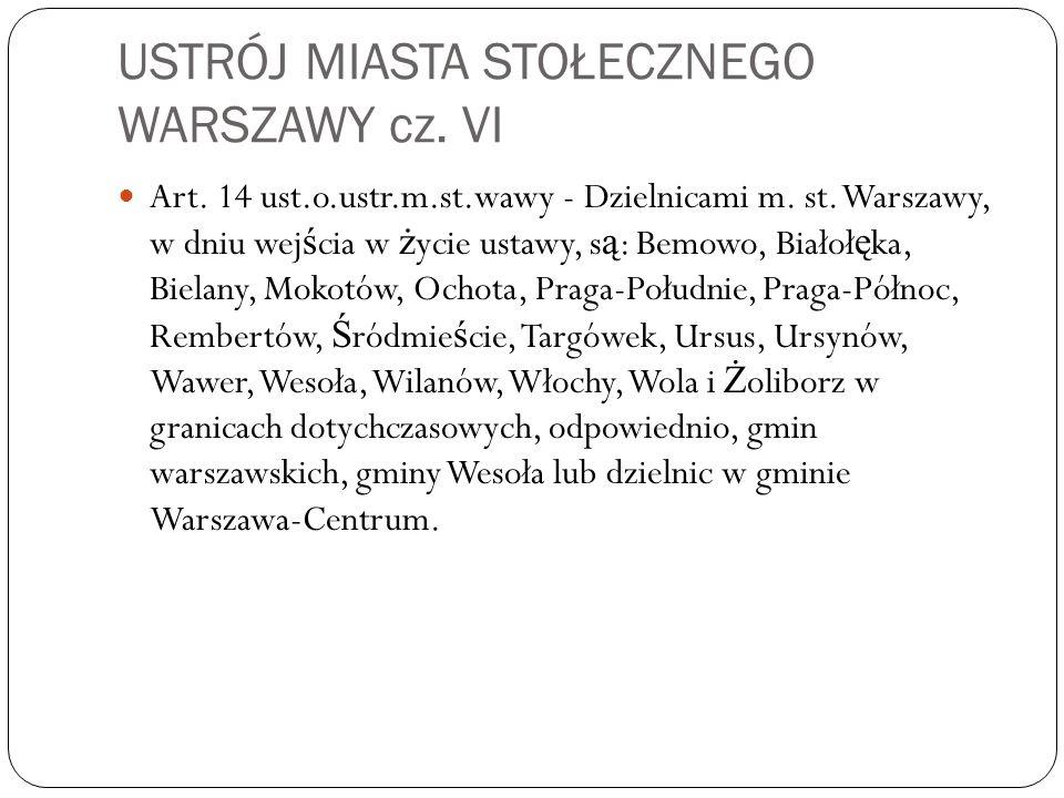 USTRÓJ MIASTA STOŁECZNEGO WARSZAWY cz. VI Art. 14 ust.o.ustr.m.st.wawy - Dzielnicami m. st. Warszawy, w dniu wej ś cia w ż ycie ustawy, s ą : Bemowo,