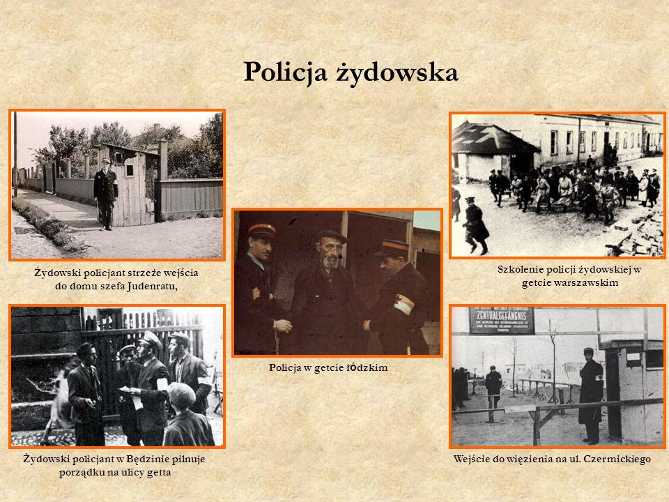 Policja w getcie ł ó dzkim Żydowski policjant strzeże wejścia do domu szefa Judenratu, Wejście do więzienia na ul.