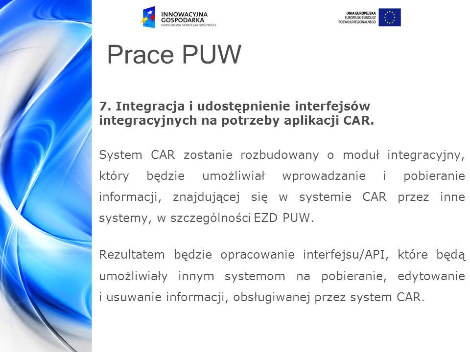 Prace PUW 7.Integracja i udostępnienie interfejsów integracyjnych na potrzeby aplikacji CAR.