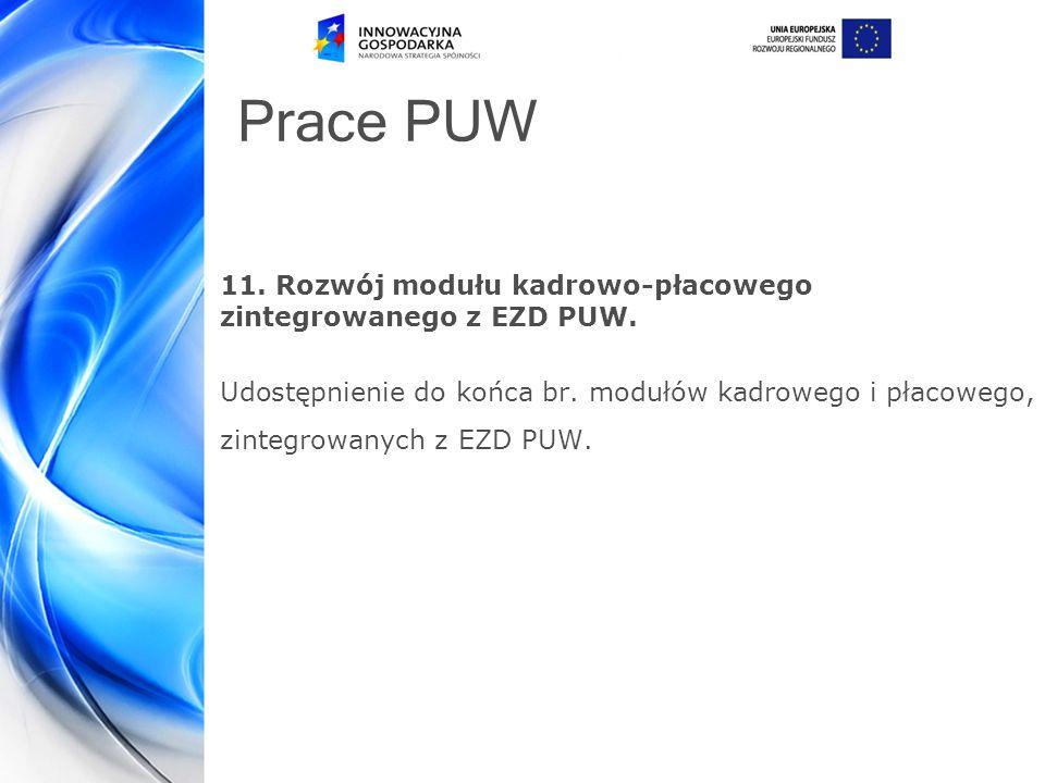 Prace PUW 11.Rozwój modułu kadrowo-płacowego zintegrowanego z EZD PUW.