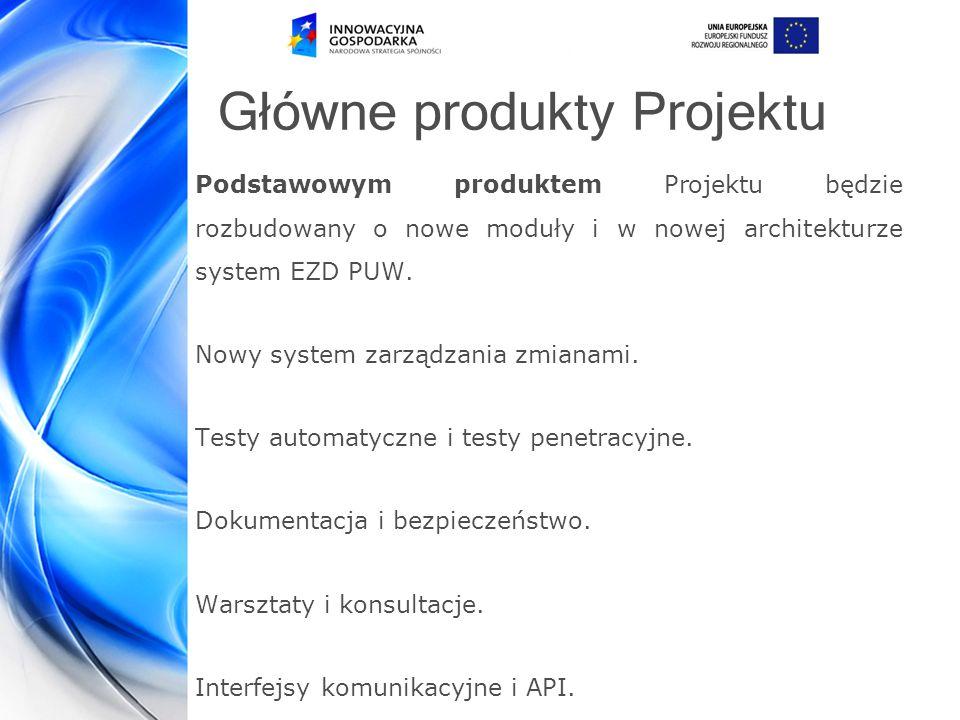 Główne produkty Projektu Podstawowym produktem Projektu będzie rozbudowany o nowe moduły i w nowej architekturze system EZD PUW.