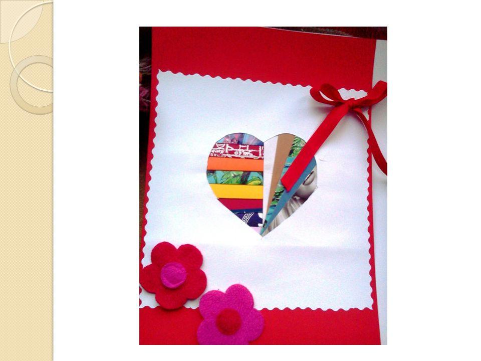 Potrzebne materiały i narzędzia Szablon serca i wzór Paski różnokolorowego papieru o szerokości 4 cm i długości ok.