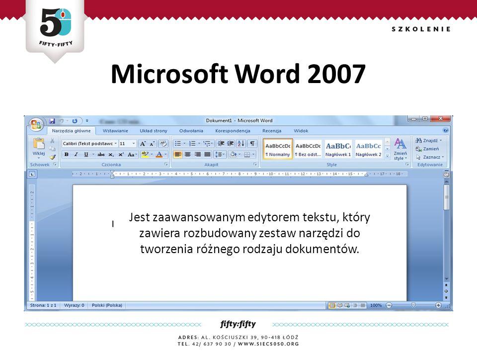Przycisk Office Jest zaawansownym edytorem tekstu, który zawiera rozbudowany zestaw narzędzi do tworzenia różnego rodzaju dokumentów.