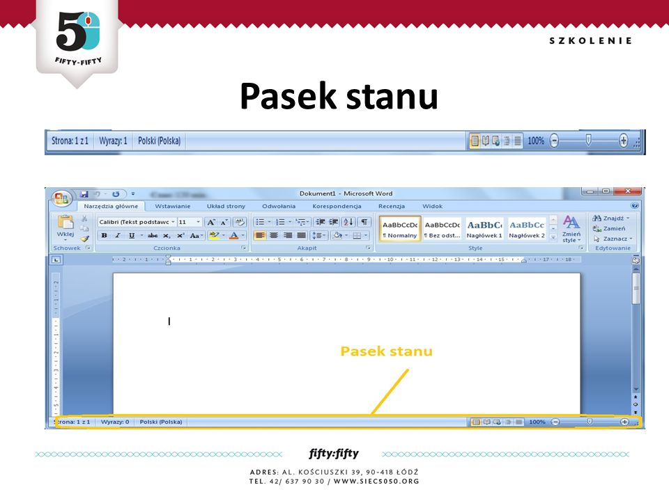 Cel główny: Uczestnik nauczy się wykorzystywać dodatkowe komendy zwiększające przekaz treści dokumentu Cele szczegółowe: Uczestnik będzie potrafił: Cieniować i obramować paragraf, Wypunktować frazy w postaci punktorów bądź list numerowanych, zastosować odpowiednią interlinię, Dokonać wcięcia pierwszego wiersza, Sformatować efektywnie i efektownie tekst bazowy/surowy.