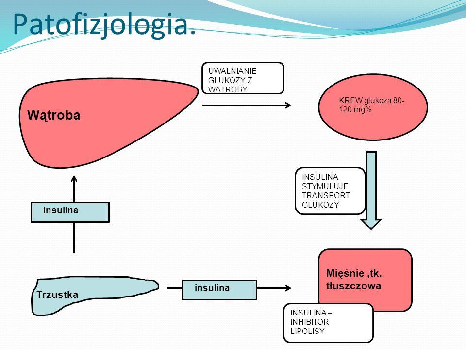 Patofizjologia.Trzustka insulina KREW glukoza 80- 120 mg% Mięśnie,tk.