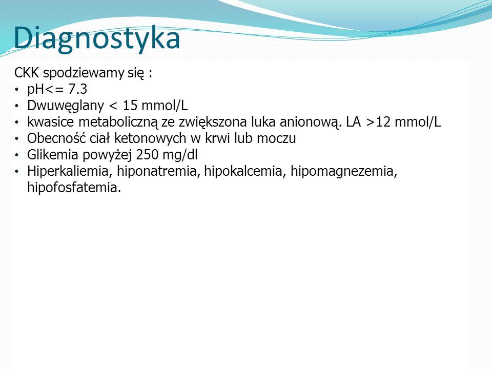 Diagnostyka CKK spodziewamy się : pH<= 7.3 Dwuwęglany < 15 mmol/L kwasice metaboliczną ze zwiększona luka anionową.