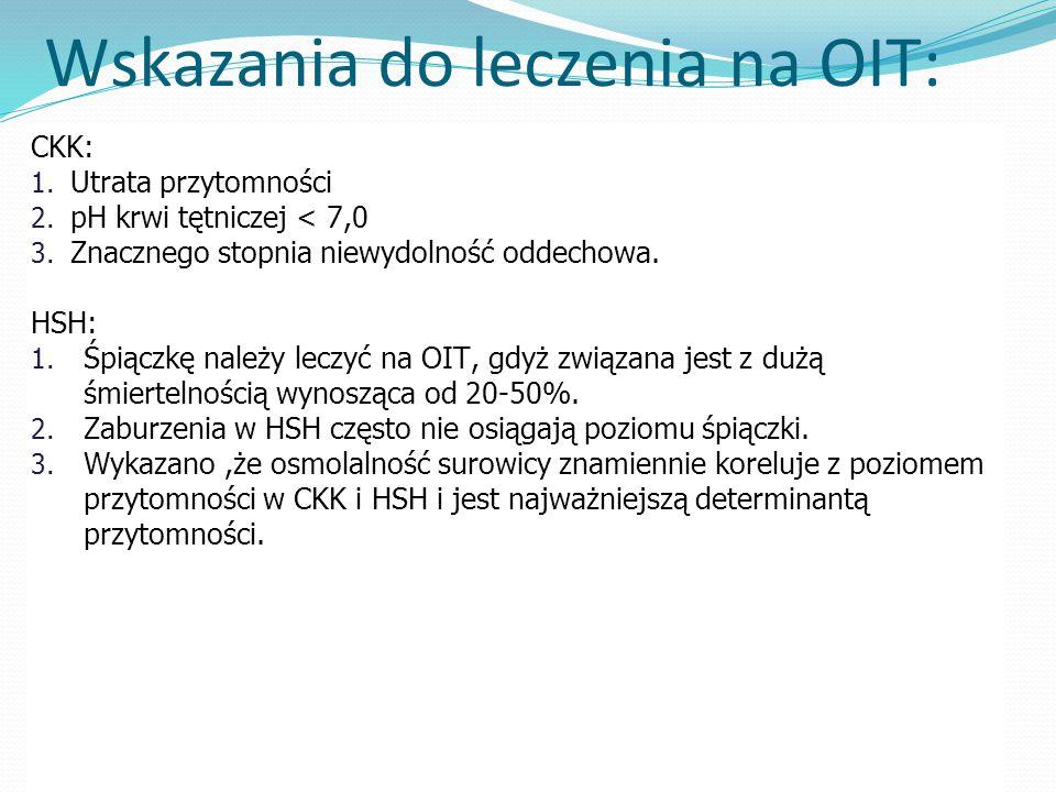 Wskazania do leczenia na OIT: CKK: 1.Utrata przytomności 2.