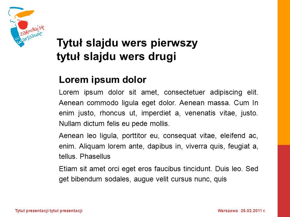 Tytuł slajdu wers pierwszy tytuł slajdu wers drugi Tytuł prezentacji tytuł prezentacji Warszawa 25.02.2011 r.