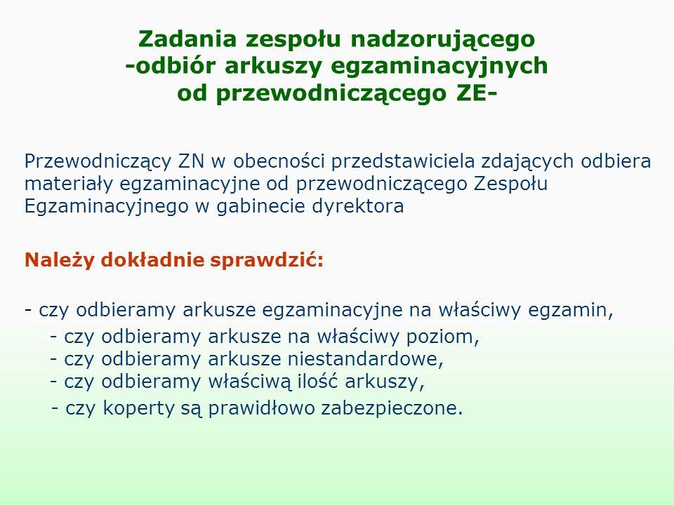Zadania zespołu nadzorującego -odbiór arkuszy egzaminacyjnych od przewodniczącego ZE- Przewodniczący ZN w obecności przedstawiciela zdających odbiera