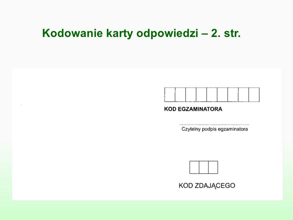 Kodowanie karty odpowiedzi – 2. str.