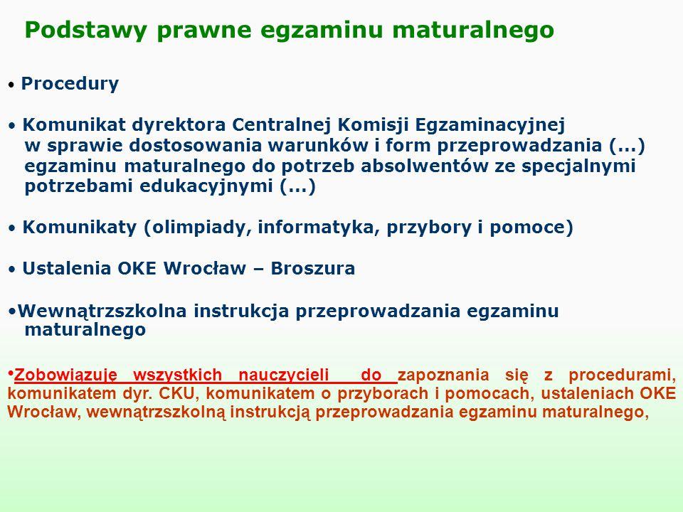 Procedury Komunikat dyrektora Centralnej Komisji Egzaminacyjnej w sprawie dostosowania warunków i form przeprowadzania (...) egzaminu maturalnego do p