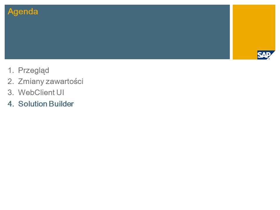 1.Przegląd 2.Zmiany zawartości 3.WebClient UI 4.Solution Builder Agenda