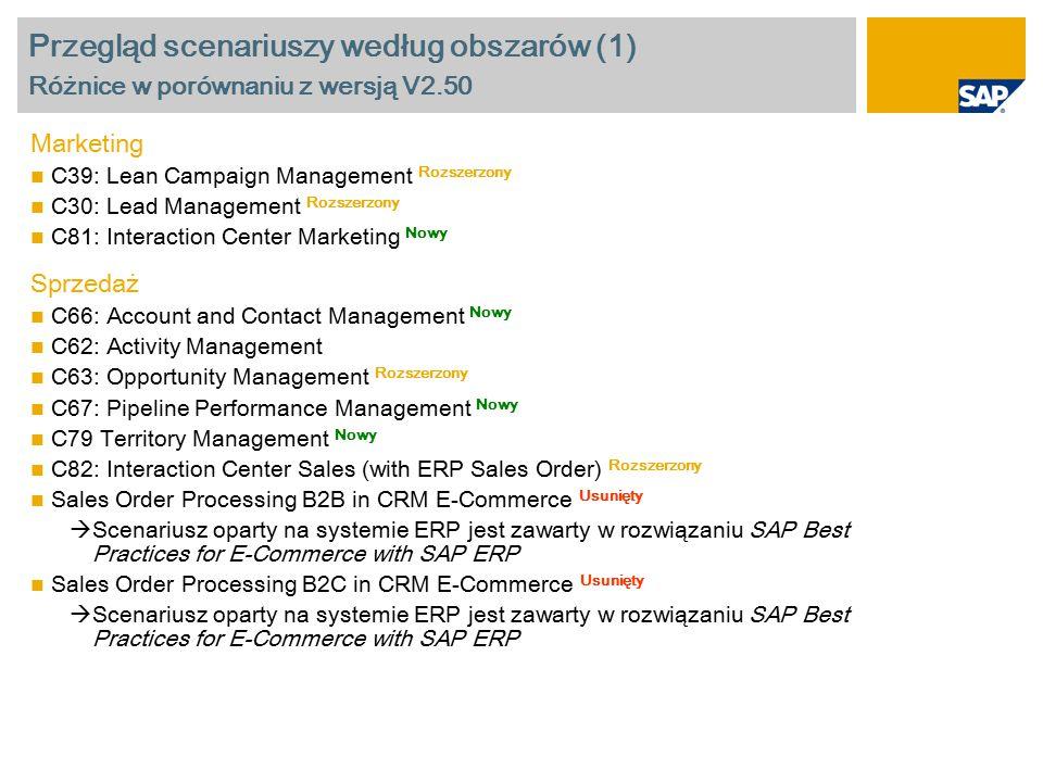Przegląd scenariuszy według obszarów (2) Różnice w porównaniu z wersją V2.50 Usługi C69: Service Order Management Rozszerzony C68: Service Order Management (Standalone) Nowy C38: Complaints and Returns Management C75: E-Service: Solution Assistance C76: E-Service: Service Request Management C77: E-Service: Complaints and Returns Management C80: Interaction Center Service Rozszerzony Raportowanie CR1: Interactive Reporting for Marketing, Sales and Service Scenarios Nowy CR2: BI Analytics for Marketing, Sales and Service Scenarios Rozszerzony