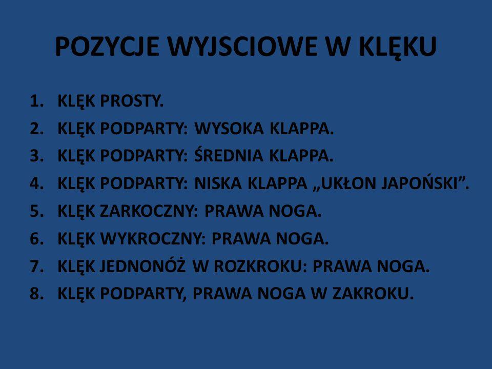 """POZYCJE WYJSCIOWE W KLĘKU 1.KLĘK PROSTY. 2.KLĘK PODPARTY: WYSOKA KLAPPA. 3.KLĘK PODPARTY: ŚREDNIA KLAPPA. 4.KLĘK PODPARTY: NISKA KLAPPA """"UKŁON JAPOŃSK"""