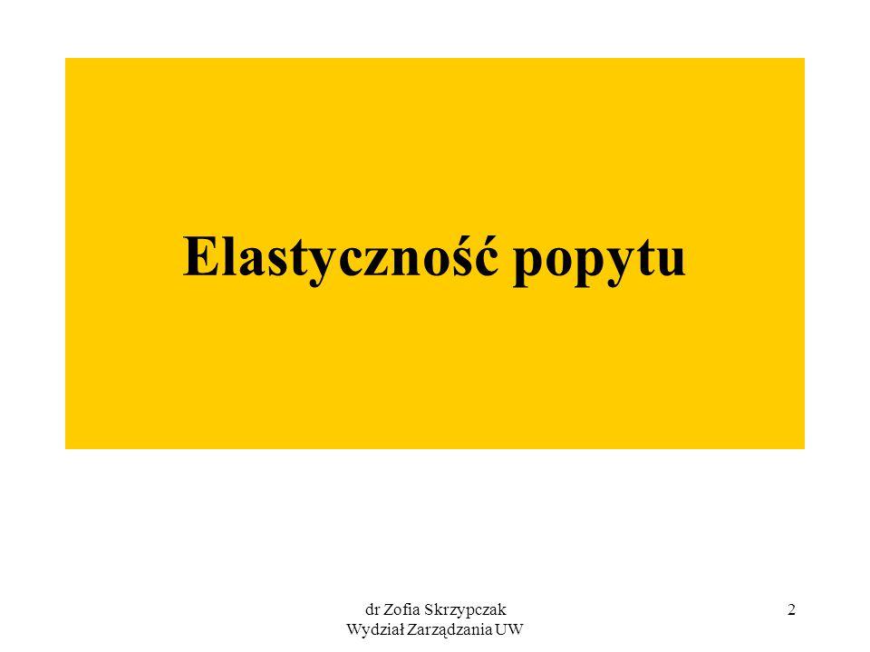 dr Zofia Skrzypczak Wydział Zarządzania UW 43 Elastyczność cenowa popytu mieszana – zadanie 2 Cena dobra Y Popyt na dobro X 10 zł 100 szt.